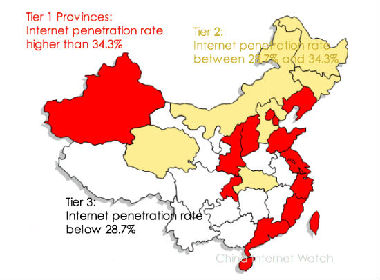 China in 3 Tiers by Internet Penetration Rate
