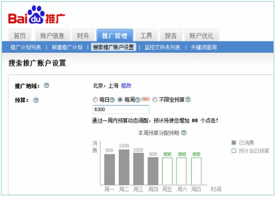 Baidu PPC New Feature: Weekly Budget