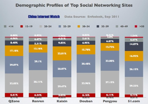 Demographic Profiles of China's Top Social Networking Sites