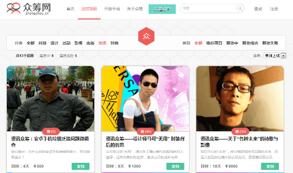 China's First News Crowdfunding Website
